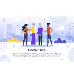 Social help for aged people flat banner vector