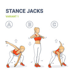 Stance jack sport women exercise for health and vector