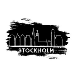 Stockholm skyline silhouette hand drawn sketch vector