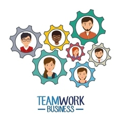 Teamwork business people icon vector