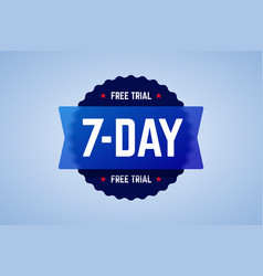 the 7 days free trial emblem vector image