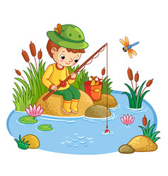 The boy sits and catches fish in a pond vector