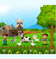 The cowboy and cowgirl at the farm with animals vector