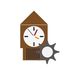 Wall clock and gear icon vector