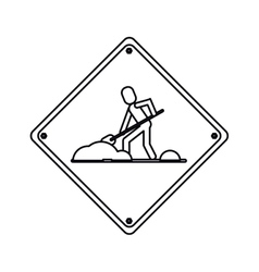 Warning under construction repair sign outline vector