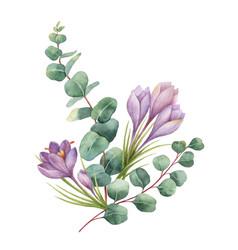 Watercolor bouquet with green eucalyptus vector