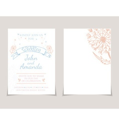 wedding invitation card templates with hand drawn vector image