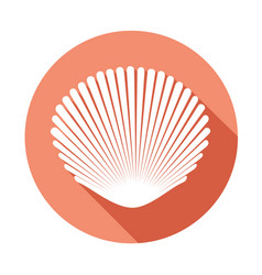 white seashell flat icon with long shadow on vector image