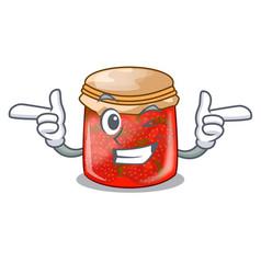 Wink strawberry marmalade in glass jar of cartoon vector