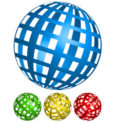 Wire-frame grid spheres 4 angles in 4 colors vector