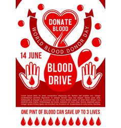 World blood donor day donation poster vector