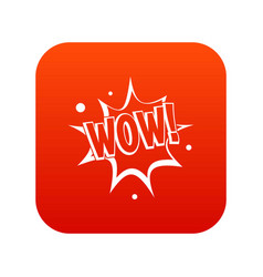 Wow explosion effect icon digital red vector