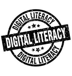 Digital literacy round grunge black stamp vector