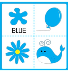 Learning blue color balloon flower and whale vector