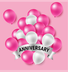 pink and white party balloons for anniversary vector image vector image