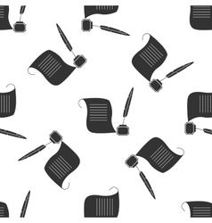 Quill Pen with inkwell and paper scroll vector image