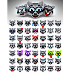 raccoon face emotions vector image