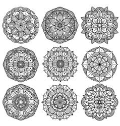 Yoga medallions meditation mandalas arabesque vector image vector image