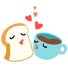 bread and coffee are lover breakfast vector image vector image