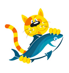 cat with fish in the paws vector image