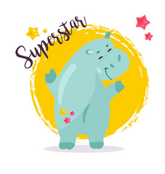 image of a funny superstar hippo vector image vector image