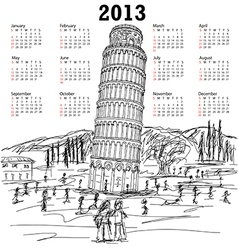 leaning tower of pisa 2013 calendar vector image