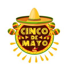 mexican cinco de mayo holiday sombrero icon vector image vector image