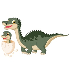 Mother dinosaur with baby hatching vector image vector image
