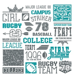 Rugby and baseball team college design elements vector image vector image