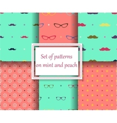 set of seamless patterns on mint and peach colors vector image vector image