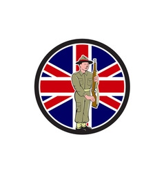 British World War II Soldier Union Jack Flag vector image vector image