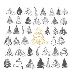 calligraphy hand drawn set christmas tree icons vector image