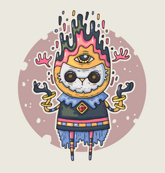 cartoon creature in the mask cartoon vector image