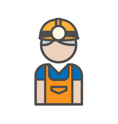 miner avatar icon on white background vector image vector image