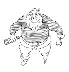 One-legged bearded pirate in bandana a man in vector