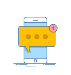 smartphone with new message on screen chat sms vector image vector image