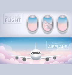 airplane window the tourist banner passenger vector image vector image