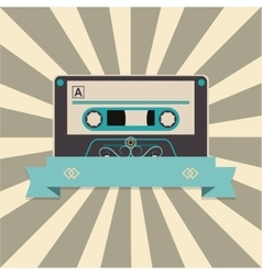 audio cassette tape over striped background and vector image