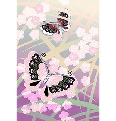 Butterflies among the blossoms vector image vector image