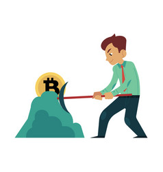 Cartoon businessman bitcoin mining hummer vector