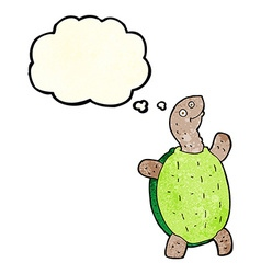 cartoon happy turtle with thought bubble vector image vector image