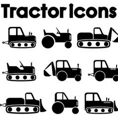 Cut Out Black Various Tractor and Construction vector image