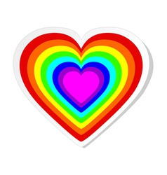 Rainbow heart sticker vector image vector image