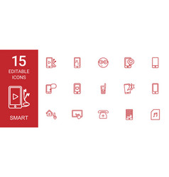 15 smart icons vector image