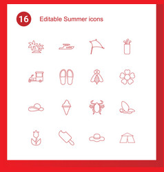 16 summer icons vector image