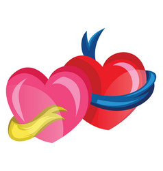 a pink heart with a yellow ribbon and a red star vector image