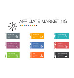 Affiliate marketing infographic 10 option line vector