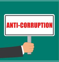Anti corruption sign flat concept vector