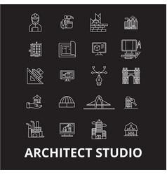 architect studio editable line icons set on vector image