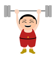 asian weightlifter cartoon character vector image